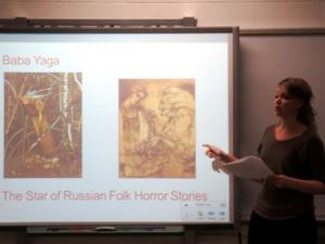Zsuzsánna Magdó introducing students to Baba Yaga