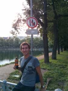 Zach with a bottle of kvas at Patriarch's Pond
