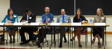 Panelists from left to right: Prof. Donna Buchanan, Joe Lenkart, Ryan Haynes, Dr. Rob Whiting, Prof. Richelle Bernazzoli, and Prof. Judith Pintar