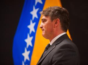 Zeljko Komsic, chairman of the presidency of Bosnia and Herzegovina, visits the University of Illinois Tuesday Oct. 1, 2013.