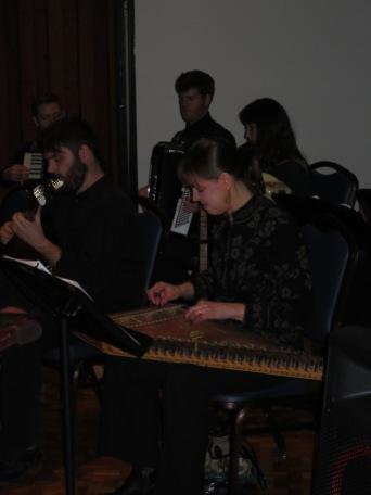 Professor Donna Buchanan playing the gusli