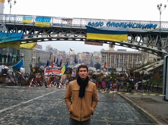 A view of one of the barricades blocking off access to Maidan