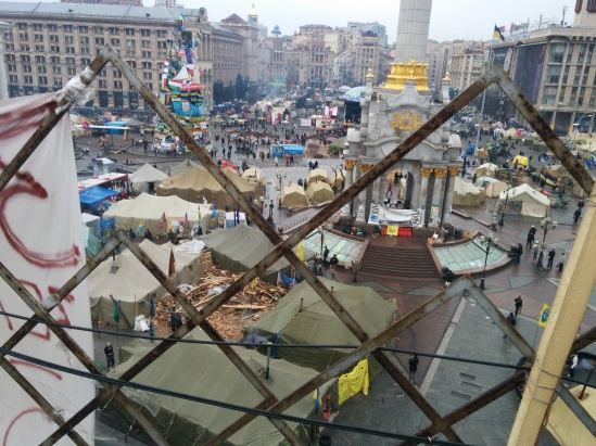 A view of the Maidan camp, a tent with a wood workshop