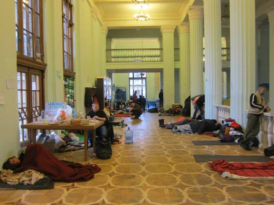 Protesters occupying the City Council building (photo courtesy of Areta Kovalsky)