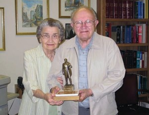 Professor Shtohryn with his wife Eustachia after receiving the community service award from the Ukrainian Congress Committee of America—Illinois Division on August 6, 2009