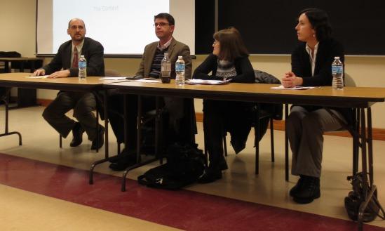 David Cooper, Director of REEEC, introduces the panelists Kostas Kourtikakis, Carol Leff, and Oleksandra Wallo