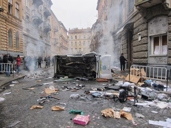 Center of Lviv after the bloody events in Kyiv