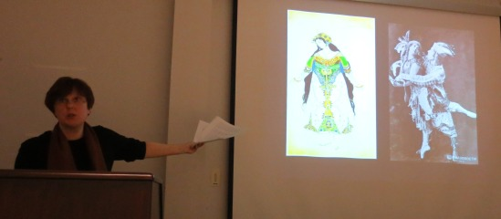 Nina Gourianova showing examples of costumes from Diaghilev's ballets