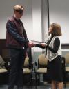 Carol Leff (Associate Professor of Political Science) congratulating the undergraduate student winner of the 2014 Yaro Skalnik Prize, Matt McWilliams