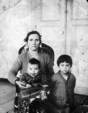 Esma — great grandmother of Sebnem Ozkan, outreach coordinator at the European Union Center — stands with two of her children after she migrated to Turkey. Photo courtesy of Sebnem Ozkan