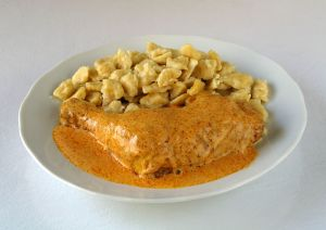 A plate of chicken paprikash (Image Source)