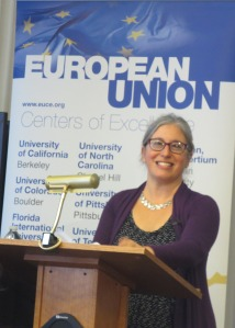 Prof. Rebecca Friedman giving the EU Centers of Excellence Director's Lecture