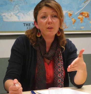 Veneta Ivanova giving her REEEC Noontime Scholars Lecture