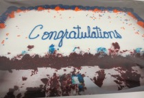 Red velvet cake to honor graduating students.