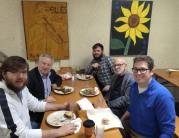 Jeffrey Werbock having lunch with Professor Emeritus Bruno Nettl, Jason Finkelman of the Robert E. Brown Center for World Music, and graduate students Jon Hollis, Lucas Henry, and Ben Wheeler.