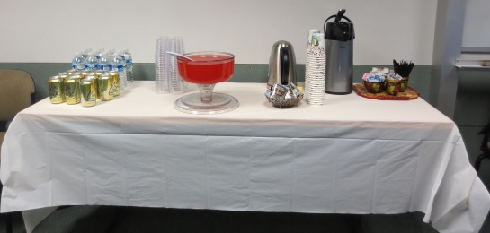 Refreshments served at the reception.