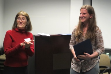 Prof. Carol Leff (Assoc. Professor of Political Science) announcing the graduate student winner of the Yaro Skalnik Prize - Alana Holland.