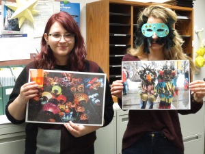 Undergraduate Headstart helpers Gabi Repala (right) and Medina Spiodic (left) displaying some of the crafts used to teach about cultures.