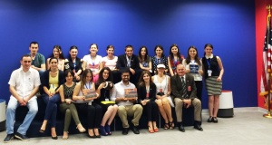 Dr. Nancy Scanell (wearing a white visor in the front row) with European Teaching University staff and students.