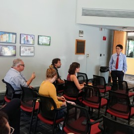 Dr. Liu takes a question from the audience.
